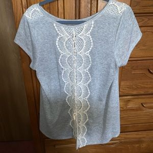 Xhilaration | Gray | Lace Back Top